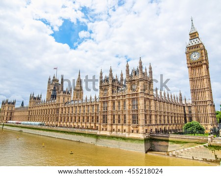 High dynamic range HDR Houses of Parliament Westminster Palace London gothic architecture
