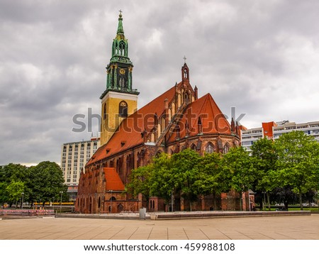 High dynamic range HDR Marienkirche St Mary church in Berlin Germany