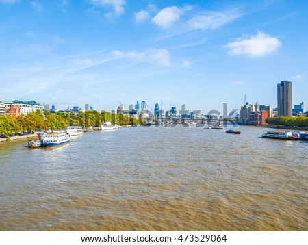 High dynamic range HDR Panoramic view of River Thames London UK