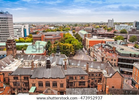 High dynamic range HDR Panoramic view of the city of Coventry, England, UK