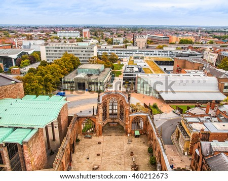 High dynamic range HDR Panoramic view of the city of Coventry with cathedral ruins, England, UK