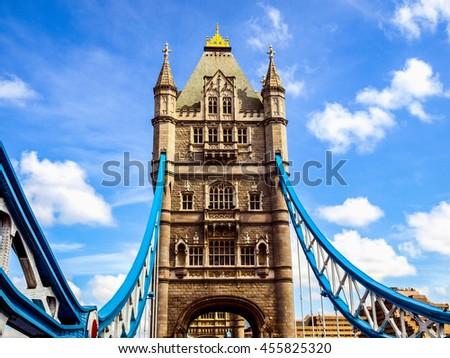 High dynamic range HDR Tower Bridge on River Thames, London, UK - stock photo