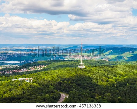 High dynamic range HDR View of the city of Stuttgart in Germany