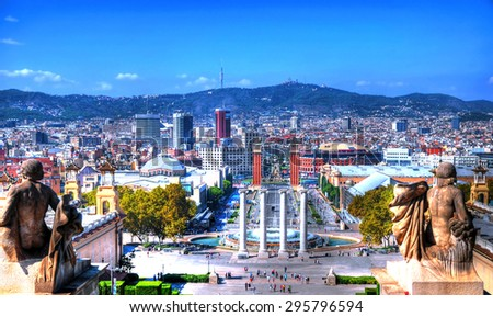 High dynamic range image (HDR) - The skyline of amazing Barcelona from the Montjuic in a clear blue sky - stock photo