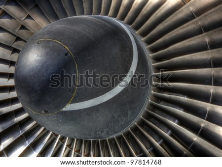 High dynamic range image of the inlet turbo vanes of a jet engine - stock photo