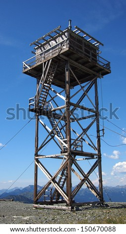 high elevation fire lookout tower - stock photo
