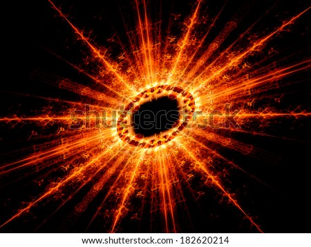 High energy nuclear fission, computer generated fractal background - stock photo