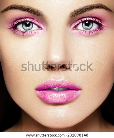 High fashion look.glamor closeup beauty portrait of beautiful   Caucasian young woman model with pure makeup  with perfect clean skin with pink lips - stock photo