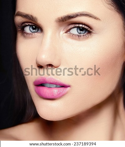 High fashion look.glamor closeup beauty portrait of beautiful   Caucasian young woman model with pink lips  with perfect clean skin - stock photo