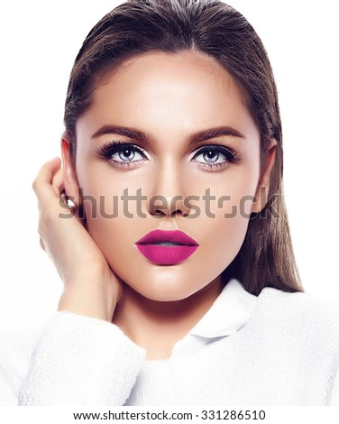 High fashion look.glamor closeup portrait of beautiful sexy stylish brunette business young woman model with bright makeup with pink lips in white coat jacket - stock photo