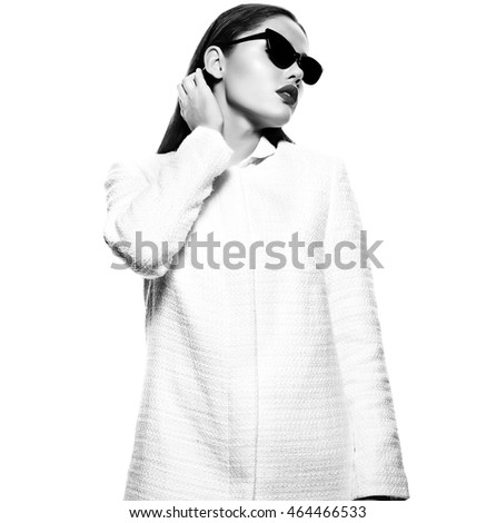 High fashion look.glamor closeup portrait of beautiful sexy stylish brunette business young woman model in white coat jacket isolated on white