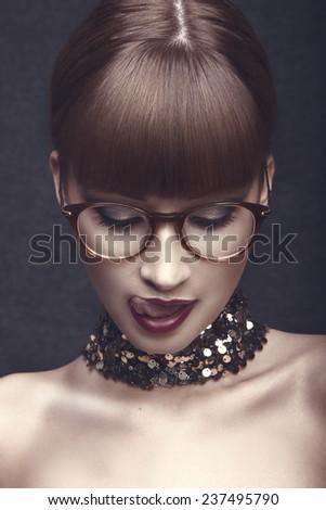 stylish eyeglasses zzlf  High fashion lookglamor closeup portrait of beautiful sexy stylish mode in  eyeglasses with red