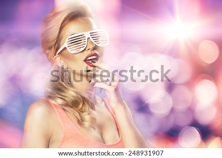 High fashion look.glamor lifestyle blond woman girl in glasses