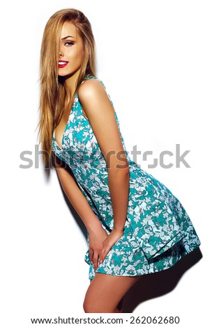 High fashion look.glamor sexy stylish blond young woman model with bright makeup with perfect sunbathed clean skin in colorful summer dress with red lips - stock photo