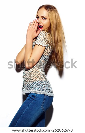 High fashion look.glamor sexy stylish surprised blond young woman model with bright makeup with perfect sunbathed clean skin in colorful hipster casual summer cloth - stock photo