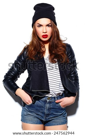 High fashion look.glamor stylish beautiful  young happy smiling woman model with red lips  in casual cloth in black beanie - stock photo