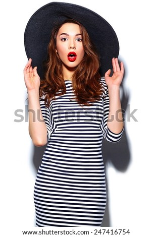 High fashion look.glamor stylish beautiful  young happy smiling woman model with red lips  in zebra dress in black summer hat - stock photo