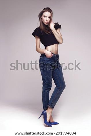 High fashion look.glamor stylish beautiful young woman model - stock photo