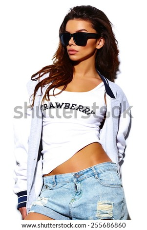High fashion look.glamor stylish sexy beautiful  young brunette woman model  in summer bright  hipster cloth in sunglasses - stock photo
