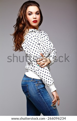 High fashion look.glamor stylish sexy beautiful young woman model in summer bright jeans  hipster cloth  - stock photo