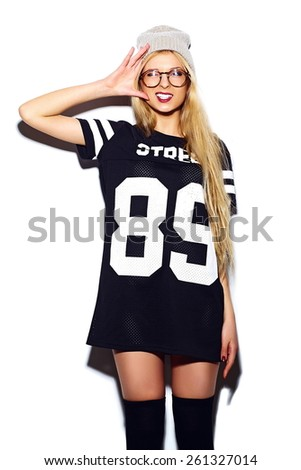 High fashion look.glamor stylish sexy smiling beautiful young blond woman model in summer  casual sport cloth - stock photo