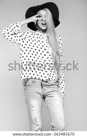 High fashion look.glamor stylish sexy smiling beautiful young blond woman model in summer  cloth  in  hat - stock photo