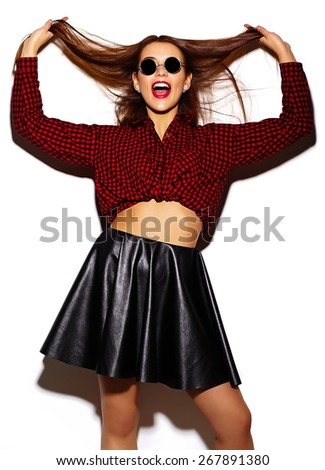 High fashion look.glamor stylish sexy smiling beautiful young woman model in summer bright casual  hipster cloth play with hair - stock photo