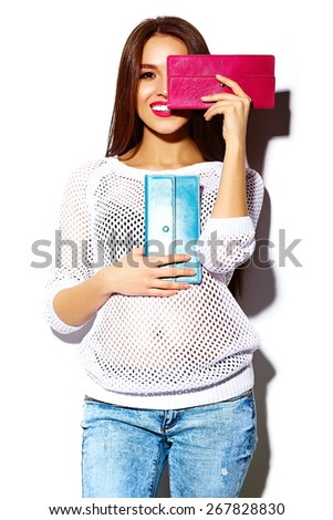 High fashion look.glamor stylish sexy smiling beautiful young woman model in summer bright white casual  hipster cloth with colorful clutch  purse - stock photo