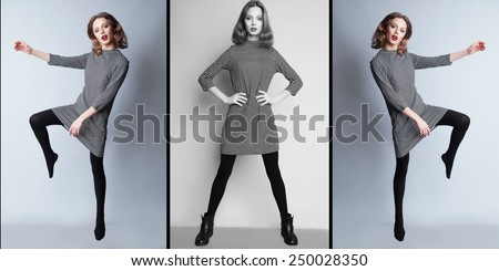 High fashion look. Portrait of a fashionable model with sexy red lips, casual dress and boots.. Studio shot. Collage. - stock photo