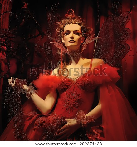 High fashion model in red dress at a fantasy party illustration - stock photo