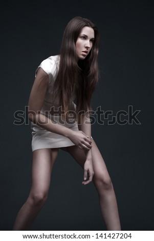 High fashion model posing, test shoot - stock photo