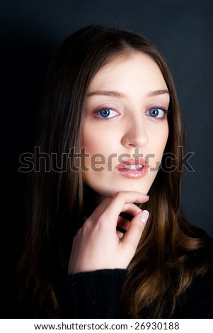 High fashion portrait of a beautiful woman, soft focus