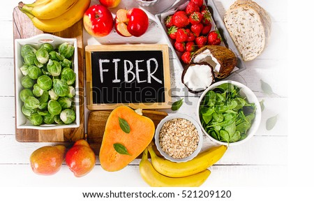 High Fiber Foods on a wooden background. Flat lay