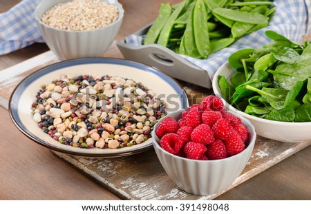 High Fiber Foods on a wooden background. Selective focus - stock photo