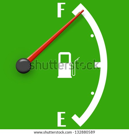 High fuel sign isolated on a green background