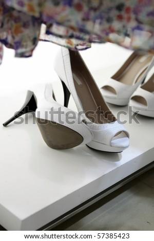 High heel female shoes - stock photo