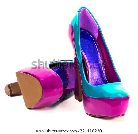 High heel glamorous shoes - stock photo