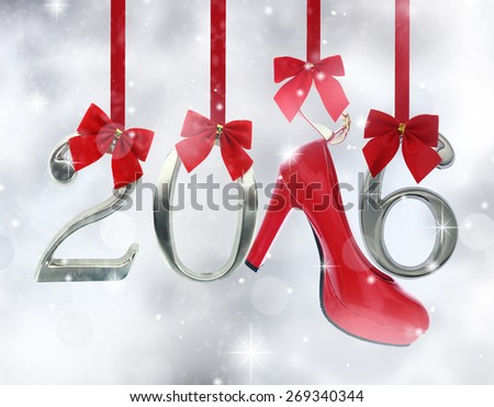 High heel shoe and 2016 number hanging on red ribbons in a glittery background - stock photo
