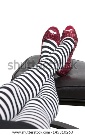 High heel stileto ruby shoes or slippers - stock photo