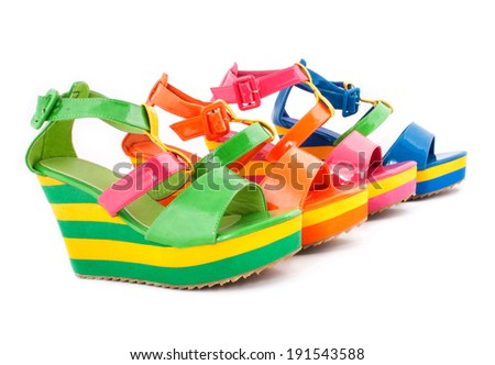 High heel varnish green women summer shoes ( sandals ) isolated on white. Lots of colors perfect for summer concept advertising
