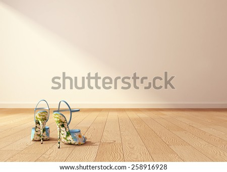 high heeled chamomiled shoes on interior background. 3d rendering - stock photo