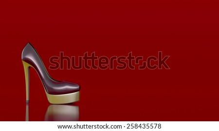 high heeled shoe on red background, space for custom text (3d render) - stock photo
