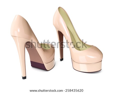 high heeled shoes on white background (3d render) - stock photo