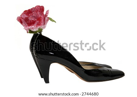 high heels and a speckled rose - stock photo