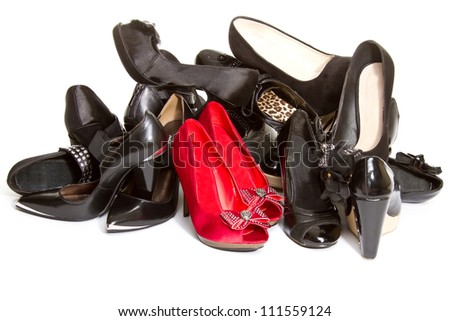 High heels in different colors, - stock photo
