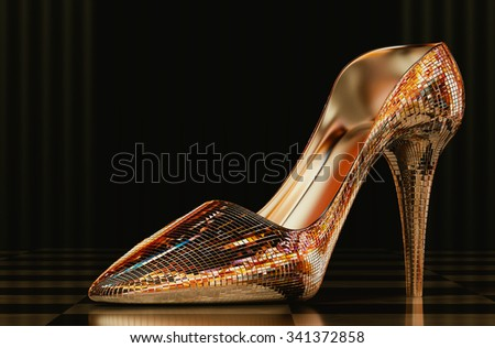 High heels mirror in a beautiful background 3d rendering