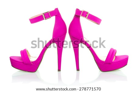 high heels shoe in pink, with platform sole and ankle strap, XXL image
