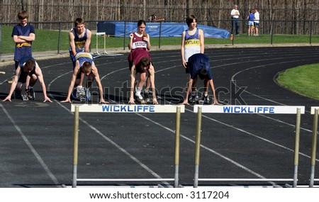 High Hurdles starting line - stock photo