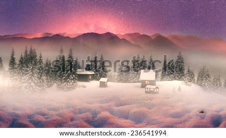 High in wild mountains located monastery- church shepherds of sheep in Carpathian Mountains. Natural reserves is very beautiful, but accessible only to experienced hikers  climbers during cold weather - stock photo