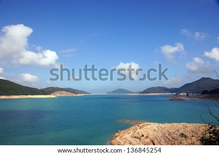 High Island Reservoir, the dam in hong kong with the beautiful landscape in Sai Kung - stock photo